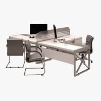 3d workstation set model