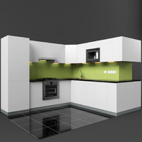 3d model modern kitchen set