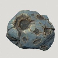 3d model low-poly blue asteroid