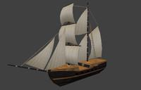 3d model old wooden ship boat
