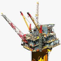 perdido oil platform 3d model