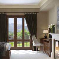 traditional bedroom scene 3d model