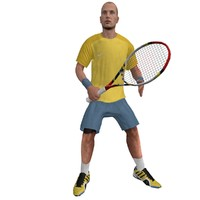 rigged tennis player 2 3d model