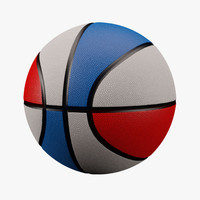 3d basketball red white blue model