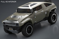 interior car hummer hx 3d model