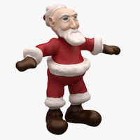 santa cartoon character 3d model