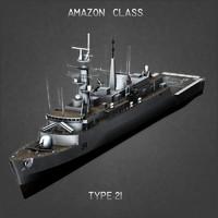 type 21 frigate 3d model