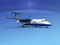 3d model of dhc-8-100 dash 8 airliner