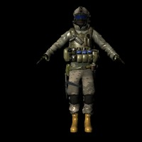 Assault military soldier rigged model