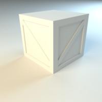 free wooden crate untextured 3d model