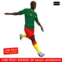 3d model soccer player cameroon animations