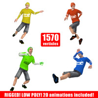 3d ready street soccer player
