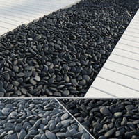 3d black grey pebbles model