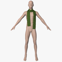 3d model of scarf men animation