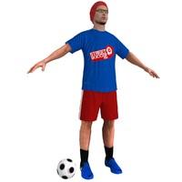 3d street soccer player model