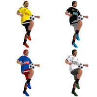 3d model pack rigged street soccer players