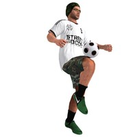 3d rigged street soccer player model