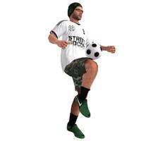 3d rigged street soccer player model