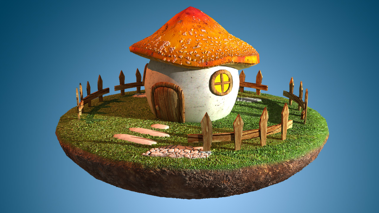 Free mushroom house cartoon 3d model for 3d house images free download