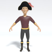 3ds cartoon pirate captain