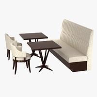 3d furniture set pastille chairs tables model