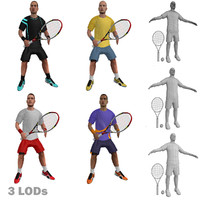 3d model of rigged tennis players