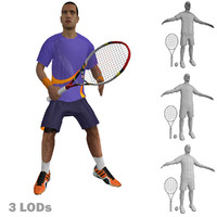 3d rigged tennis player