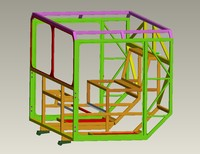 3d metal frame cabin air model