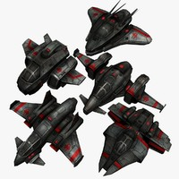 3d model 5 space destroyers