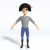 cartoon pirate eyepatch 3d model