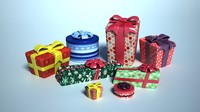 3d cartoon christmas gift model