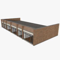 strip mall building exterior 3d model