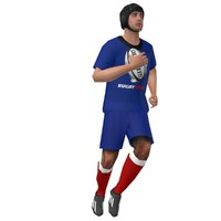 3d rigged rugby player model