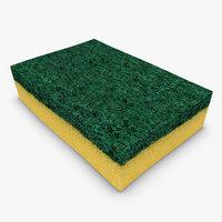 3d model sponge scanline clean
