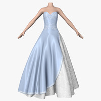 3d model wedding dress 010 female shoes