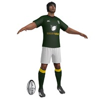 3d rugby player