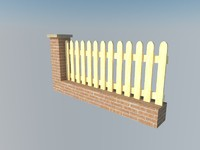 3d fence brick wall