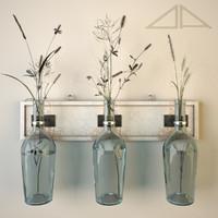 3d model shabby handmade vases