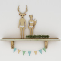 3d deer fox decor model