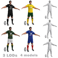 rugby players 3d model