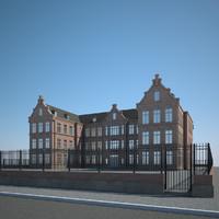 3d brick building