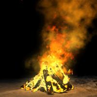 3d model bonfire sparks smoke