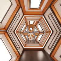 3d model sci-fi corridor