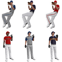 rigged baseball players ball 3d max
