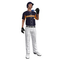 3d rigged baseball player 4 model