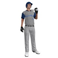 3d model of rigged baseball player ball