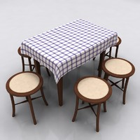 3d table stool kitchen model