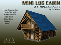 3d model mini log cabin