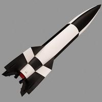 3d ballistic missile v-2 model