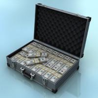 3d cash suitcase model